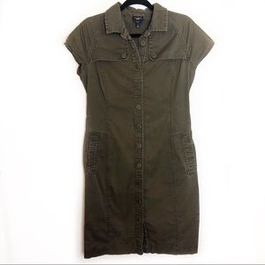 Talbots Army Green Button Down Dress